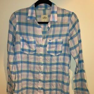 Button down pink and blue long sleeve